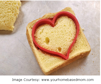Heart-themed breakfast for your loved one